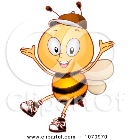 Clipart Bee Student Celebrating - Royalty Free Vector Illustration by BNP Design Studio