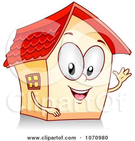 Clipart Waving House Character - Royalty Free Vector Illustration by BNP Design Studio