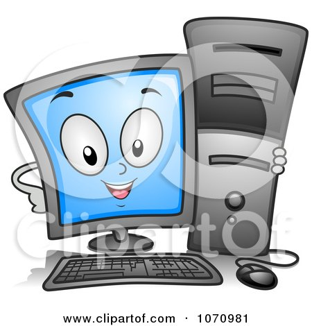 Clipart Computer Character Hugging A Tower - Royalty Free Vector Illustration by BNP Design Studio