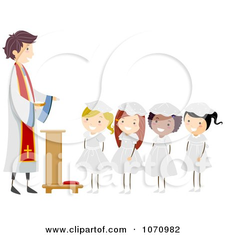 Clipart Girls Receiving Their First Communion - Royalty Free Vector Illustration by BNP Design Studio