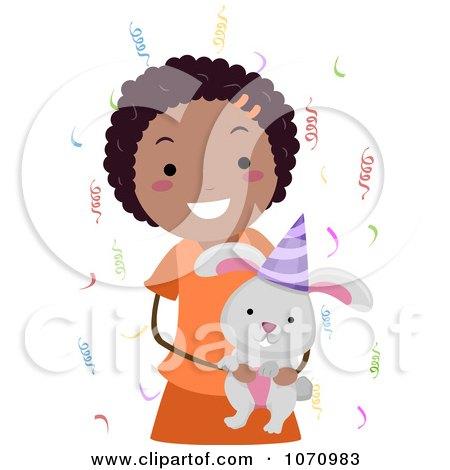 Clipart Birthday Girl Holding A Rabbit - Royalty Free Vector Illustration by BNP Design Studio