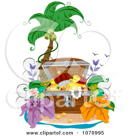 Clipart Treasure Chest Open On A Tropical Beach - Royalty Free Vector Illustration by BNP Design Studio