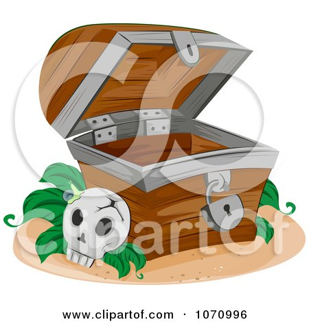 Clipart Skull By An Empty Treasure Chest - Royalty Free Vector Illustration by BNP Design Studio
