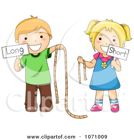 Clipart School Kids Holding Long And Short Ropes And Signs - Royalty Free Vector Illustration by BNP Design Studio