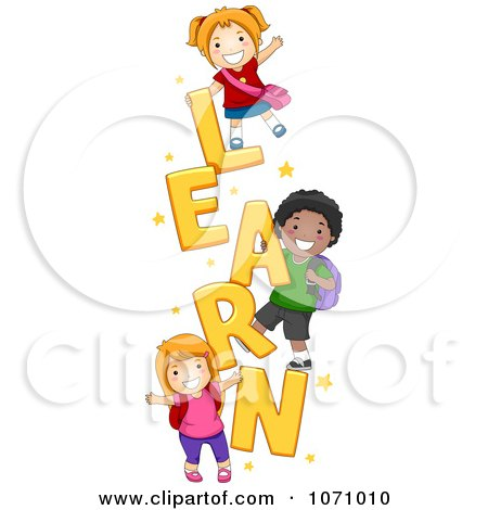Clipart School Kids Playing On The Word LEARN - Royalty Free Vector Illustration by BNP Design Studio