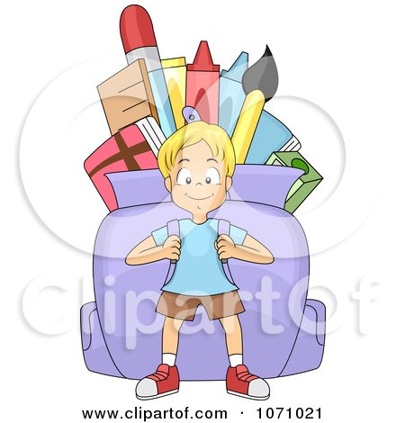 Clipart School Boy Carrying A Huge Backpack - Royalty Free Vector Illustration by BNP Design Studio