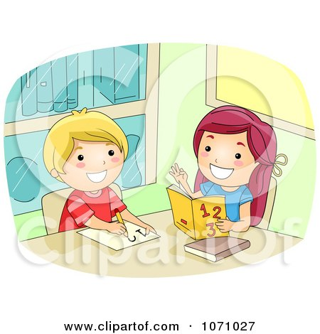 Clipart Girl Helping A Friend With Math - Royalty Free Vector Illustration by BNP Design Studio