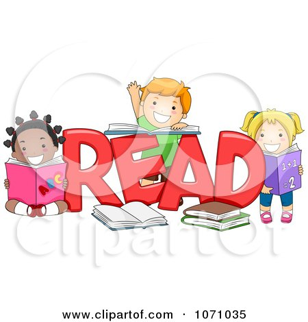 Clipart Preschool Kids With The Word READ - Royalty Free Vector Illustration by BNP Design Studio