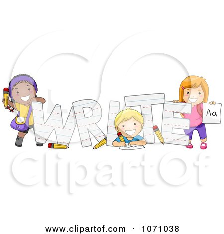 Clipart Preschool Kids With The Word WRITE - Royalty Free Vector Illustration by BNP Design Studio