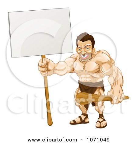 Clipart Strong Caveman Holding A Sign - Royalty Free Vector Illustration by AtStockIllustration