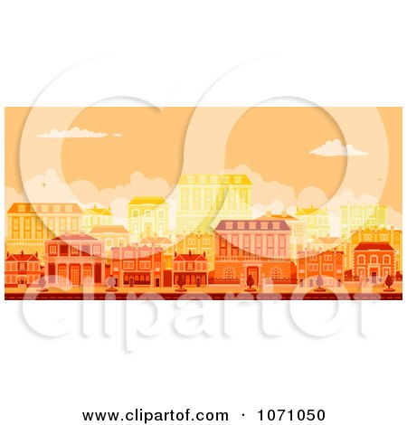 Clipart Urban Avenue With Townhouses At Sunset - Royalty Free Vector Illustration by AtStockIllustration
