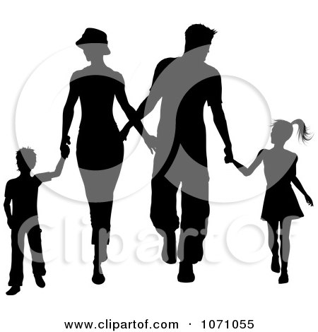 Clipart Silhouetted Family Of Four Holding Hands And Walking - Royalty Free Vector Illustration by KJ Pargeter