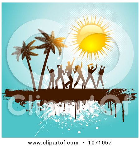 Clipart People Dancing By Palm Trees Under A Shiny Sun On Blue Grunge - Royalty Free Vector Illustration by KJ Pargeter