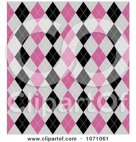 Clipart Seamless Pink Gray And Black Diamond Argyle Background Pattern - Royalty Free Vector Illustration by KJ Pargeter