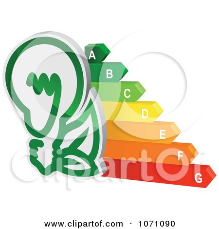 Clipart 3d Green Light Bulb And Energy Chart - Royalty Free Vector Illustration by Vector Tradition SM