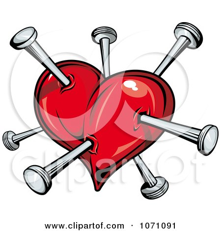 Clipart Heart Stabbed With Nails - Royalty Free Vector Illustration by Vector Tradition SM