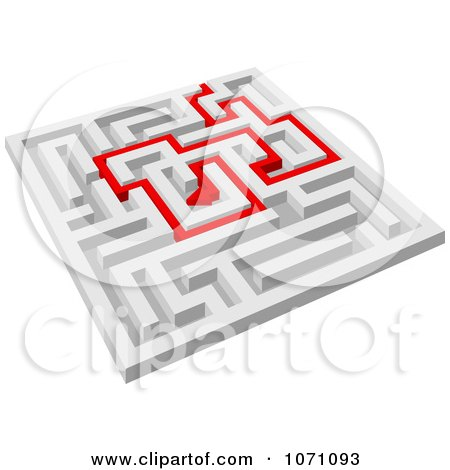 Clipart 3d Maze With Red Arrow Paths 4 - Royalty Free Vector Illustration by Vector Tradition SM
