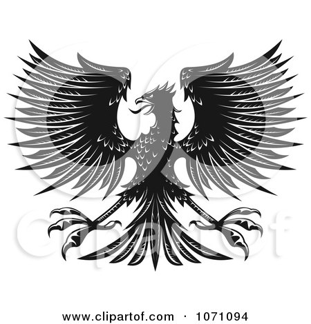 Clipart Black And White Heraldic Eagle - Royalty Free Vector Illustration by Vector Tradition SM