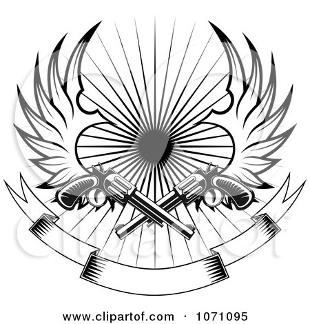 Clipart Winged Revolvers Over A Blank Banner And Burst - Royalty Free Vector Illustration by Vector Tradition SM