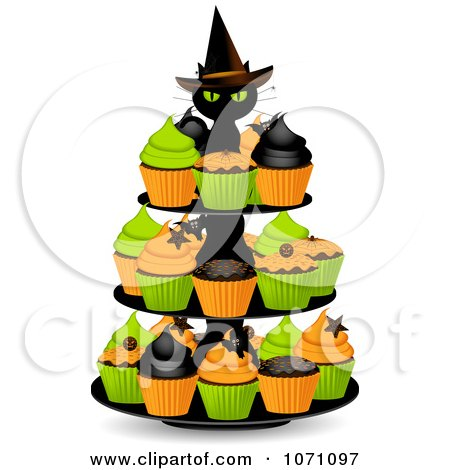 Clipart 3d Black Witch Cat On A Halloween Cupcake Stand - Royalty Free Vector Illustration by elaineitalia
