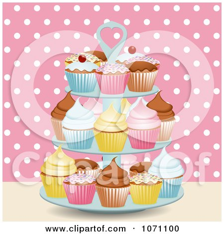 Clipart 3d Stand With Cupcakes Against Pink And White Polka Dots - Royalty Free Vector Illustration by elaineitalia