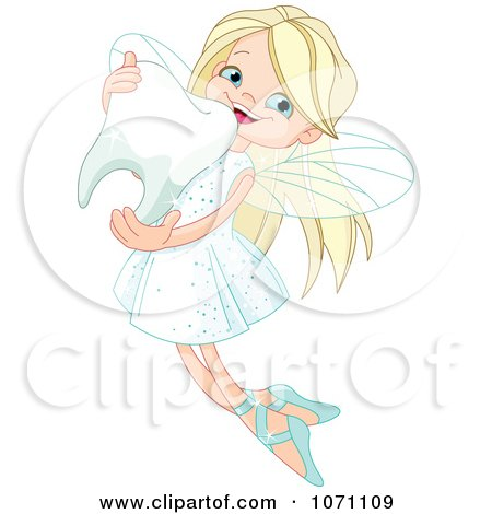 Clipart Cute Blond Fairy Hugging A Tooth - Royalty Free Vector Illustration by Pushkin