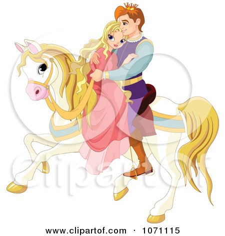 Clipart Fairy Tale Prince And Princess Cuddling On A Horse - Royalty Free Vector Illustration by Pushkin