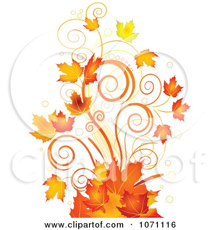 Clipart Autumn Swirl And Fall Leaf Flourish - Royalty Free Vector Illustration by Pushkin