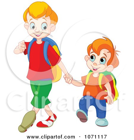 Clipart Boy Walking His Little Brother To Preschool - Royalty Free Vector Illustration by Pushkin