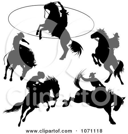 Clipart Rodeo Cowboy And Horse Silhouettes - Royalty Free Vector Illustration by Pushkin