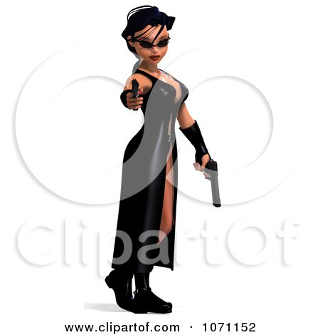 Clipart 3d Female Agent Holding Two Revolvers 1 - Royalty Free CGI Illustration by Ralf61