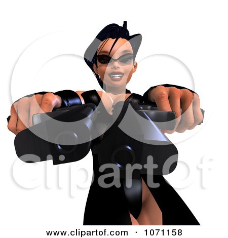 Clipart 3d Female Agent Holding Two Revolvers 9 - Royalty Free CGI Illustration by Ralf61