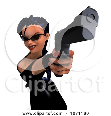 Clipart 3d Female Agent Aiming A Revolver - Royalty Free CGI Illustration by Ralf61