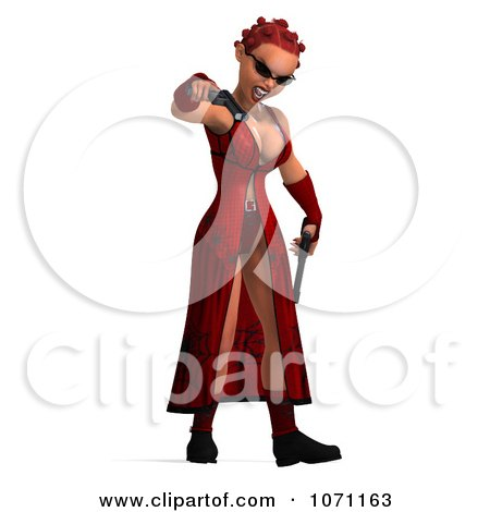 Clipart 3d Female Agent In Red Holding Two Revolvers 2 - Royalty Free CGI Illustration by Ralf61