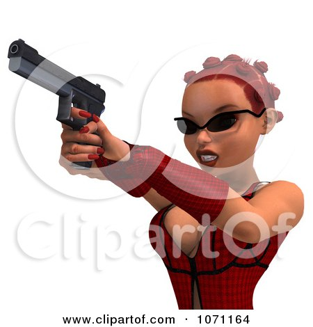 Clipart 3d Female Agent In Red Shooting A Pistol - Royalty Free CGI Illustration by Ralf61