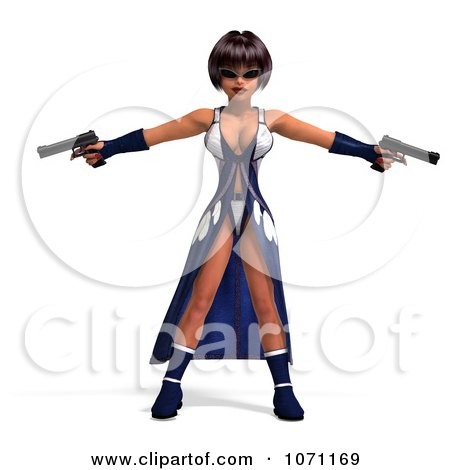 Clipart 3d Female Agent In Blue Holding Two Revolvers - Royalty Free CGI Illustration by Ralf61