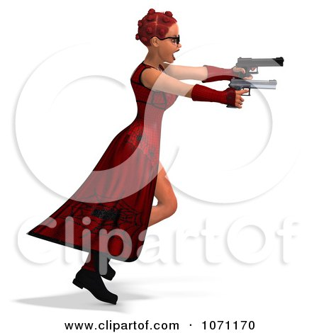 Clipart 3d Female Agent In Red Holding Two Revolvers 1 - Royalty Free CGI Illustration by Ralf61