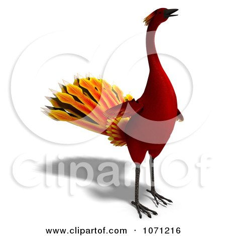 Clipart 3d Red Peacock Or Phoenix 5 - Royalty Free CGI Illustration by Ralf61