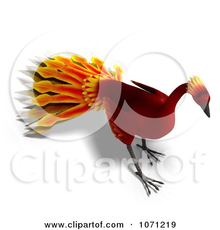 Clipart 3d Red Peacock Or Phoenix 6 - Royalty Free CGI Illustration by Ralf61
