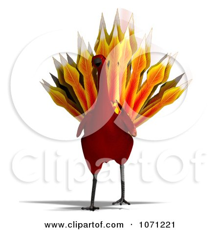 Clipart 3d Red Peacock Or Phoenix 1 - Royalty Free CGI Illustration by Ralf61