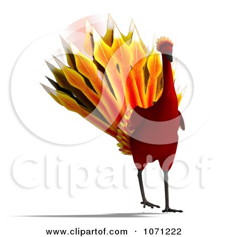 Clipart 3d Red Peacock Or Phoenix 2 - Royalty Free CGI Illustration by Ralf61