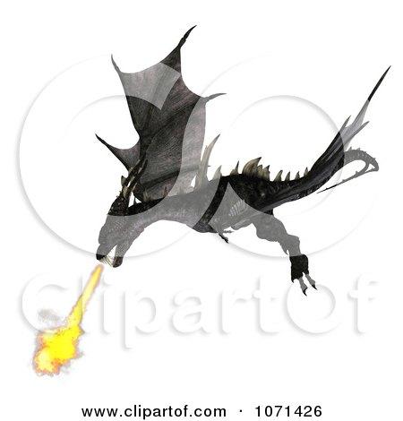 3d Fantasy Black Fire Breathing Forktail Dragon 1 Posters, Art Prints
