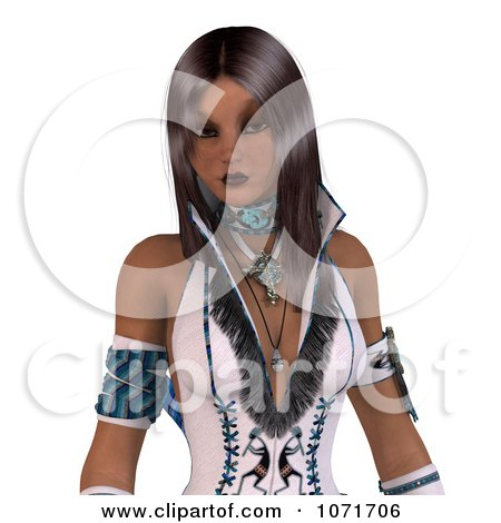 3d Beautiful Native American Indian Woman In White Leather