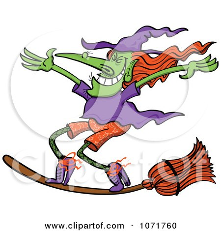 Clipart Halloween Witch Standing Up On Her Flying Broom - Royalty Free Vector Illustration by Zooco
