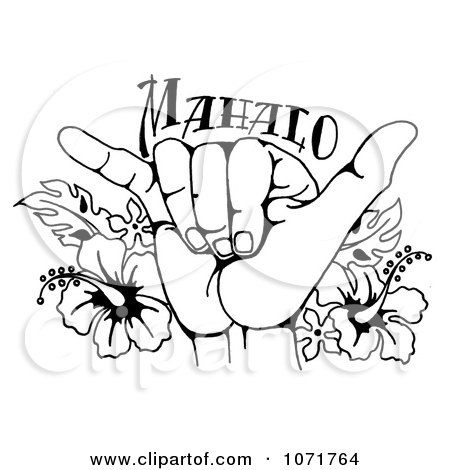 Hawaii Line Drawing Hand And Hawaiian Hibiscus