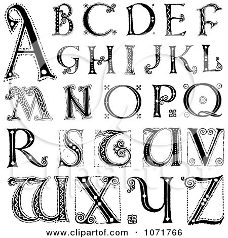 Clipart Black And White Capital Vintage Styled Alphabet Letters - Royalty Free Vector Illustration by BestVector