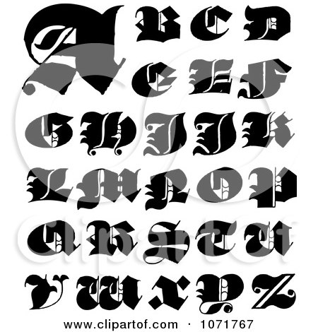 Clipart Black And White Capital Vintage Styled Calligraphy Alphabet Letters - Royalty Free Vector Illustration by BestVector