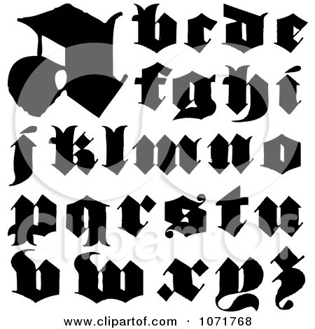 Clipart Black And White Lowercase Vintage Styled Calligraphy Alphabet Letters - Royalty Free Vector Illustration by BestVector