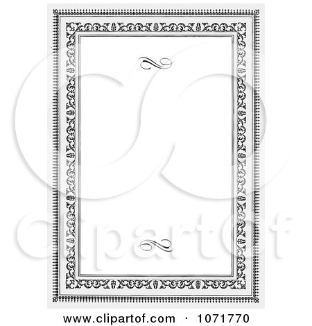 Clipart Grayscale Certificate Frame Invitation With Copyspace 2 - Royalty Free Vector Illustration by BestVector