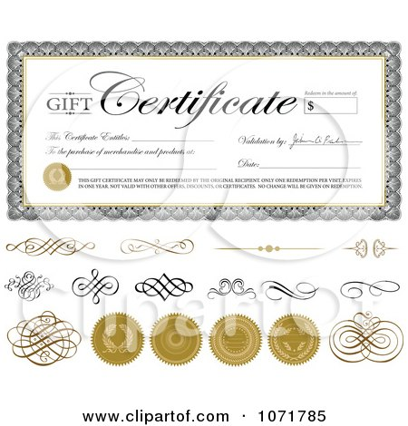 Gift Certificate Swirls And Seals With Sample Text Posters, Art ...
